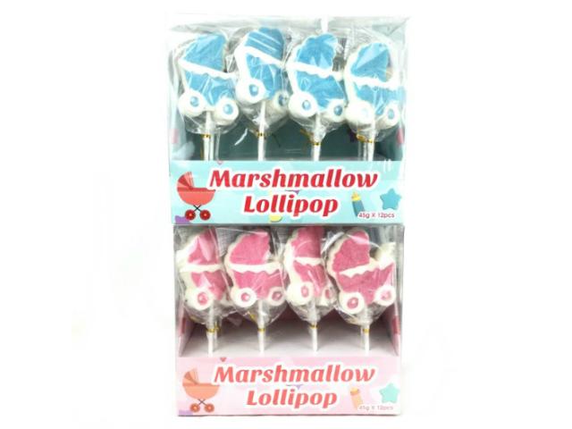 Baby Shower: spiedini marshmallow carrozzina rosa azzurro