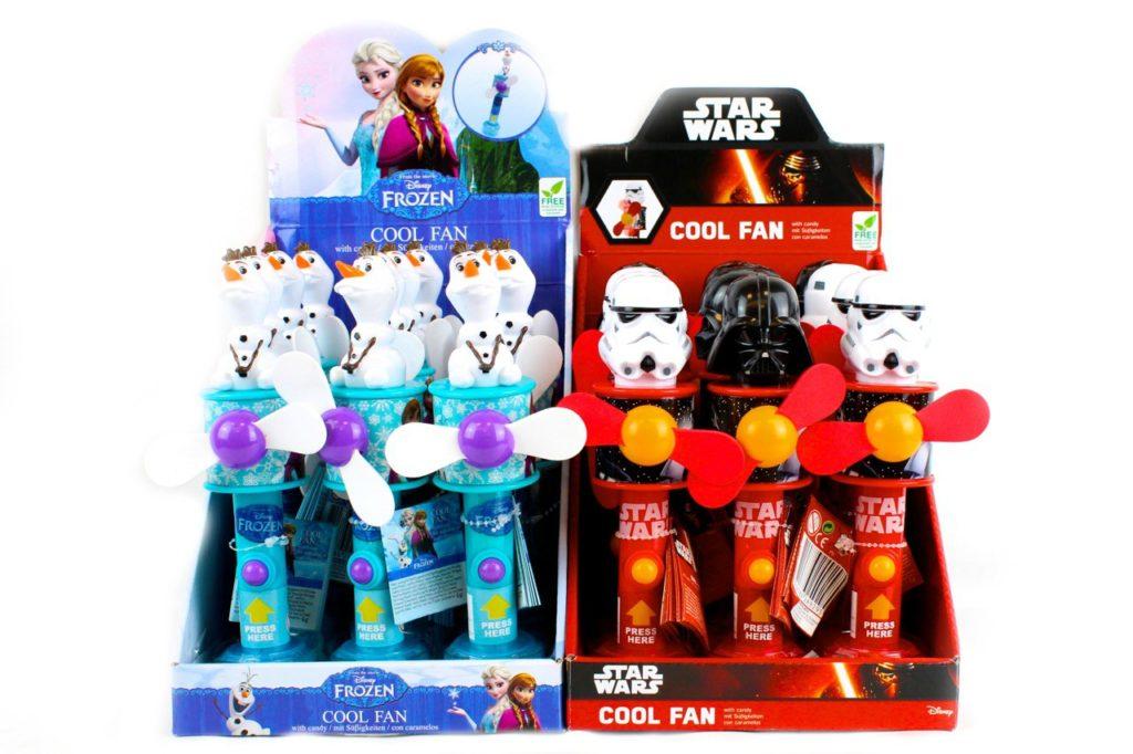 Espositori ventilatori con caramelle con topper Frozen e Star Wars