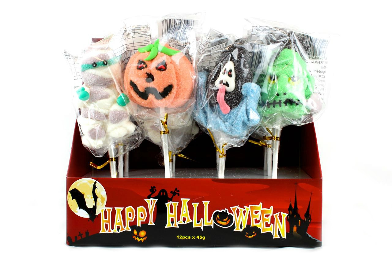 Dolciumi Halloween all'ingrosso: marshmallow pop 4 soggetti Halloween in espositore