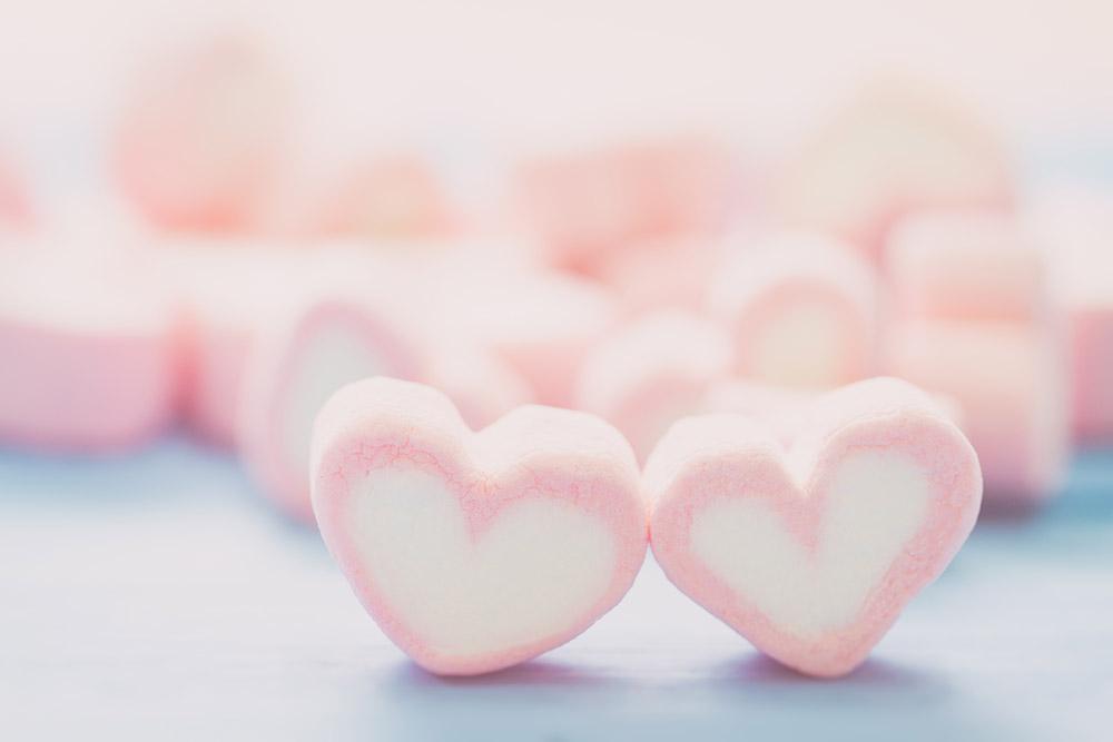 Marshmallow cuore ingrosso Rigato
