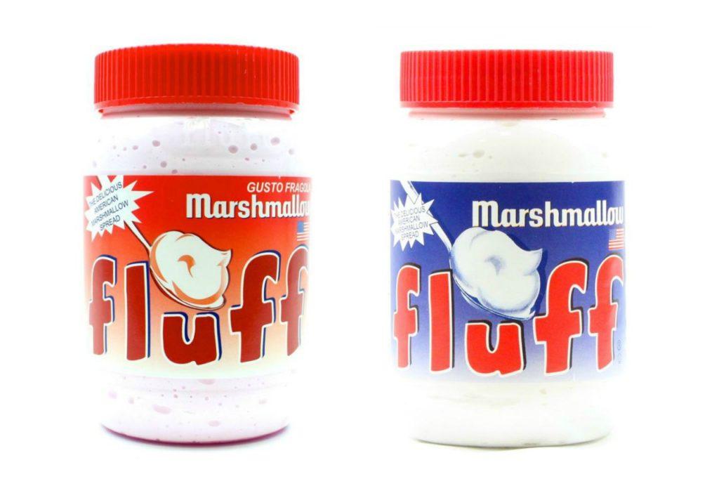 snack spalmabili marshmallow fluff fragola e vaniglia rigato